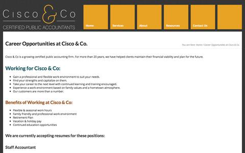 Screenshot of Jobs Page ciscocpa.com - Career Opportunities at Cisco & Co. - Mark J. Cisco & Co. CPA - captured Oct. 17, 2017