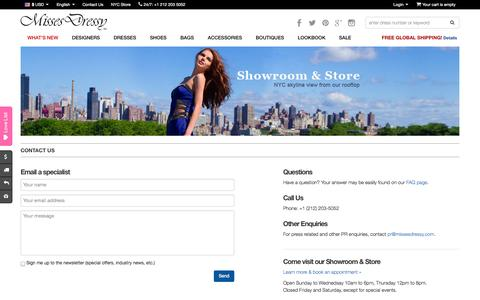 Screenshot of Contact Page missesdressy.com - Contact MissesDressy   Feedback   Questions   Comments   MissesDressy.com - captured Oct. 26, 2014
