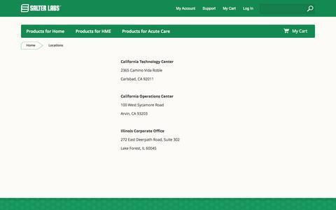 Screenshot of Locations Page salterlabs.com - Locations - captured Nov. 2, 2014