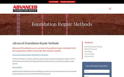 Screenshot of Products Page foundationrepairs.com - Expert Foundation Repair - Foundation Repair Companies Dallas TX | Advanced Foundation Repair - captured Oct. 3, 2018