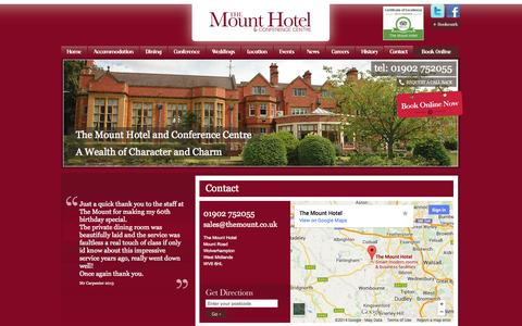 Screenshot of Contact Page themount.co.uk - Contact Us | The Mount Hotel, Restaurant and Conference Centre - captured Oct. 9, 2014