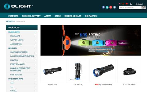 Screenshot of Products Page olightworld.com - Flashlights - captured Nov. 29, 2016