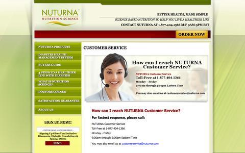 Screenshot of Support Page nuturna.com - Customer Service: NUTURNA  Advanced Diabetes Nutrition Support Formula - captured Oct. 6, 2014