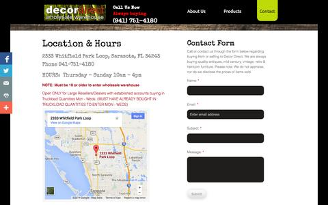 Screenshot of Contact Page Maps & Directions Page decordirect.net - Contact Decor Direct - captured Oct. 23, 2014