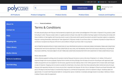 Screenshot of Terms Page polycase.com - Terms & Conditions - captured Nov. 7, 2016