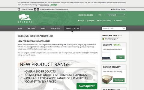 Screenshot of Home Page brit-car.co.uk - Home > Britcar (UK) Ltd - captured Sept. 22, 2014