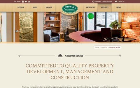 Screenshot of Support Page chinburg.com - Customer Service - Chinburg Properties - captured Oct. 2, 2014