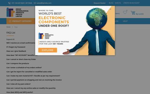 Screenshot of FAQ Page itpindia.com - Faqs - captured Dec. 19, 2018