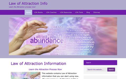Screenshot of Home Page law-of-attraction-info.com - Law of Attraction Information - Learn the Attraction Process Now - captured Feb. 7, 2018