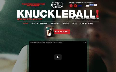 Screenshot of Home Page knuckleballmovie.com captured Sept. 24, 2015