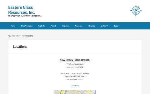 Screenshot of Locations Page eglassr.com - Locations - Eastern Glass Resources, Inc. - captured Jan. 25, 2016