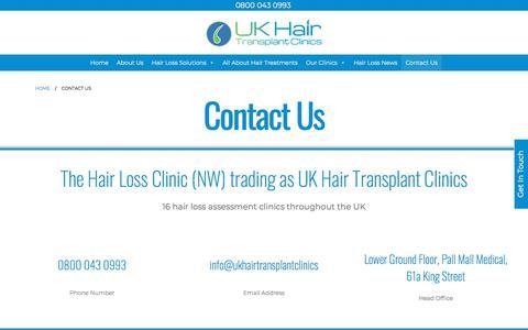 Screenshot of Contact Page ukhairtransplantclinics.co.uk - Contact Us - UKHair - captured Nov. 23, 2019