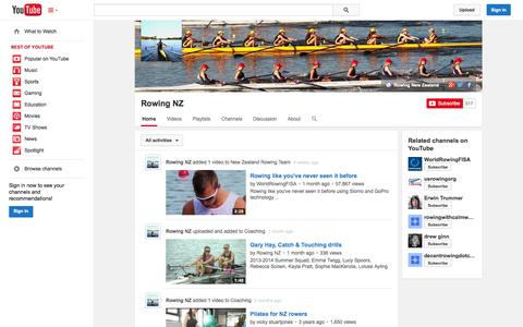 Screenshot of YouTube Page youtube.com - Rowing NZ  - YouTube - captured Oct. 29, 2014