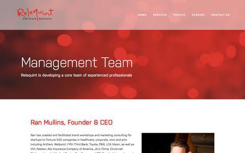 Screenshot of Team Page relequint.com - Management Team — Relequint - captured May 29, 2017