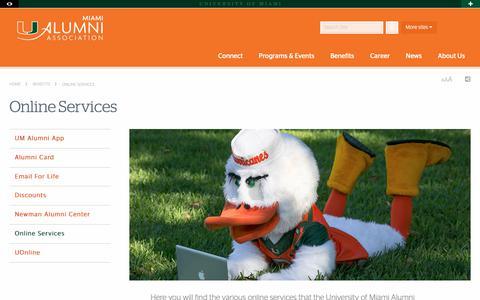 Screenshot of Services Page miami.edu - Online Services | UM Alumni | University of Miami - captured Oct. 24, 2018