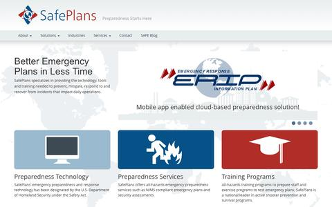 Screenshot of Home Page safeplans.com - SafePlans - Preparedness Starts Here - captured Sept. 30, 2014