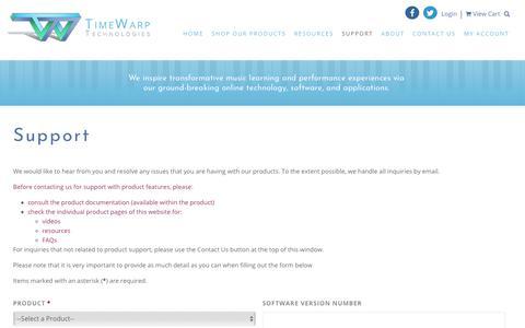 Screenshot of Support Page timewarptech.com - Support - TimeWarp Technologies - captured Oct. 25, 2017