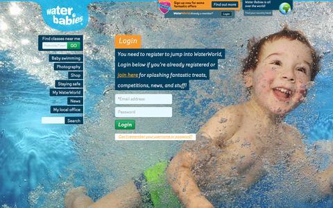 Screenshot of Login Page waterbabies.co.uk - Login : Water Babies - captured Jan. 21, 2016
