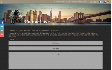 Screenshot of Contact Page hiphop16bars.com - Contact Us - Hip-Hop 16 Bars - captured Oct. 28, 2014