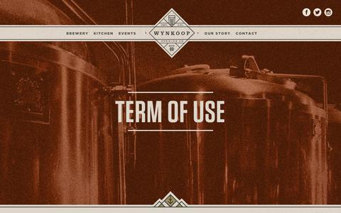 Screenshot of Terms Page wynkoop.com - Terms of Use | Wynkoop Brewing - captured Jan. 15, 2016