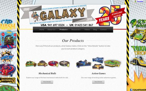 Screenshot of Products Page galaxymultirides.com - Products | Mechanical bull insurance - Galaxy Multi Rides - captured Dec. 7, 2015