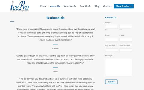 Screenshot of Testimonials Page iceprofl.com - Testimonials - Ice Pro Ice Sculptures - captured Oct. 11, 2018