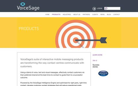 Screenshot of Products Page voicesage.com - VoiceSage Products | Talk, Text, Touch | Customer Contact Software - captured Aug. 14, 2016