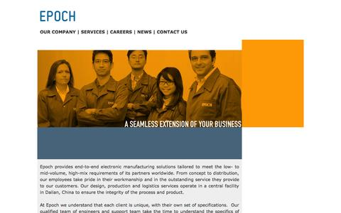 Screenshot of Home Page epoch-int.com - EPOCH � Manufacturing and Engineering Services - captured Oct. 3, 2014