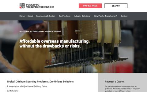 Screenshot of Locations Page pactran.com - Risk-Free International Manufacturing | Pacific Transformer - captured Nov. 13, 2016