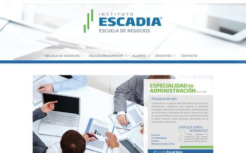 Especialidad en Administración –  Escadia