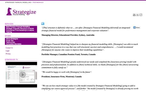 Screenshot of Testimonials Page strategizefm.com - Testimonials - Strategize Financial Modelling - captured Nov. 5, 2014