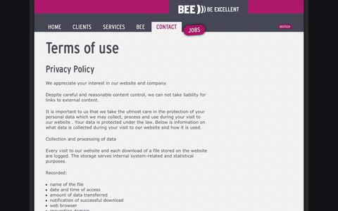 Screenshot of Terms Page bee.io - Terms of use | BEE ))) BE EXCELLENT - captured Oct. 5, 2014