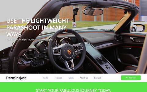 Screenshot of Home Page theparashoot.com - ParaShoot - Multi Use, Wearable Smart HD Camera - captured Sept. 17, 2014