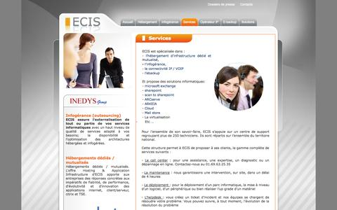 Screenshot of Services Page ecis.net - Services - Ecis - captured Oct. 3, 2014