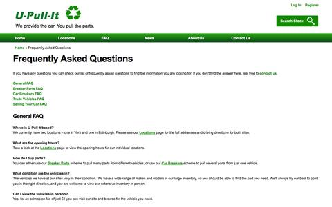 Screenshot of FAQ Page u-pull-it.co.uk - Frequently Asked Questions | U-Pull-It Breakers Yards - captured Oct. 3, 2014