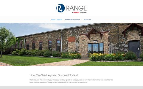 Screenshot of About Page rangedelivers.com - About Range - Range, a Deluxe Company - captured Nov. 29, 2016