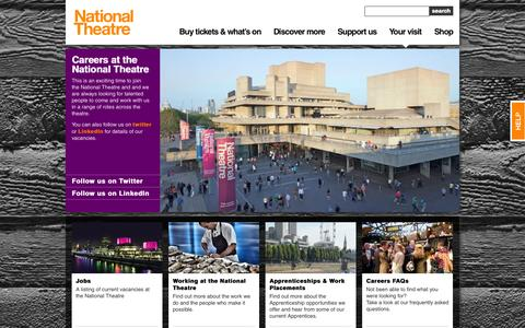 Screenshot of Jobs Page nationaltheatre.org.uk - Careers at the National Theatre | National Theatre | South Bank, London - captured Sept. 24, 2014