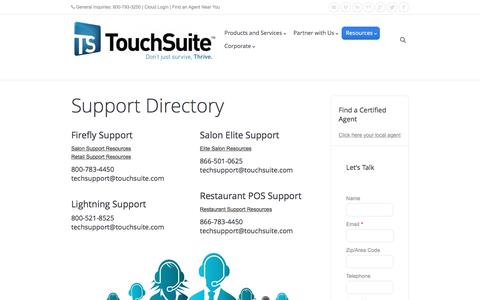Screenshot of Support Page touchsuite.com - Support - Point of Sale Systems   Merchant Processing Services   TouchSuite - captured March 23, 2017
