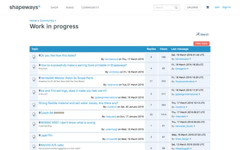 Screenshot of shapeways.com - Work in progress on Shapeways 3D Printing Forums - captured March 19, 2016
