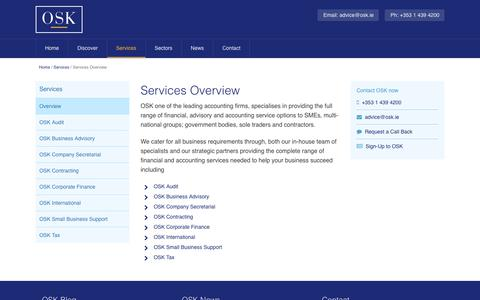 Screenshot of Services Page osk.ie - Services, OSK Accountants - Dublin - captured Sept. 21, 2018