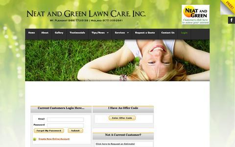 Screenshot of Login Page neatandgreen.com - Login - captured Oct. 6, 2014