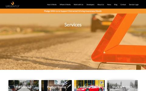 Screenshot of Services Page urgent.ly - Urgent.ly Roadside Assistance Services - captured April 27, 2016