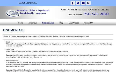 Screenshot of Testimonials Page leader-law.com - Testimonials   Leader & Leader, P.A. - captured Sept. 22, 2018