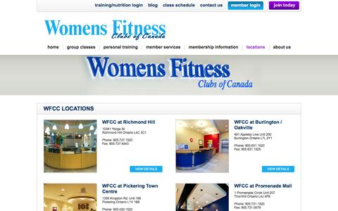 Screenshot of Contact Page Locations Page womensfitnessclubs.com - Womens Fitness Clubs of Canada | Toronto - captured Feb. 23, 2016