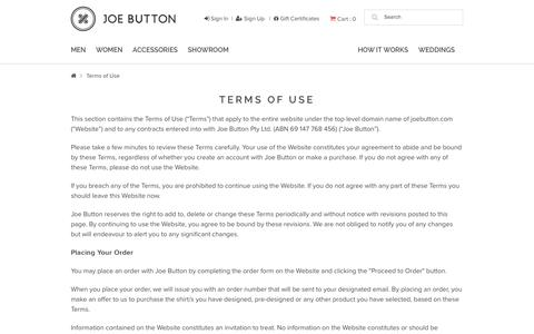 Screenshot of Terms Page joebutton.com - Terms of Use - captured Nov. 23, 2015