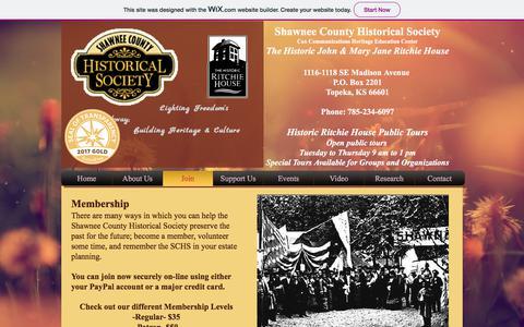 Screenshot of Signup Page shawneecountyhistory.org - shawneecountyhistory | Join - captured June 13, 2018