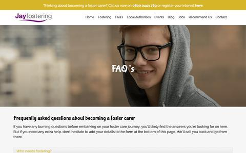 Screenshot of FAQ Page jayfostering.com - Frequently Asked Questions // Jay Fostering - captured Oct. 13, 2018