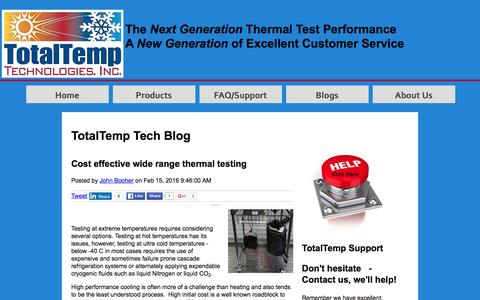 Screenshot of Blog totaltemptech.com - TotalTemp Tech Blog - captured Feb. 24, 2016