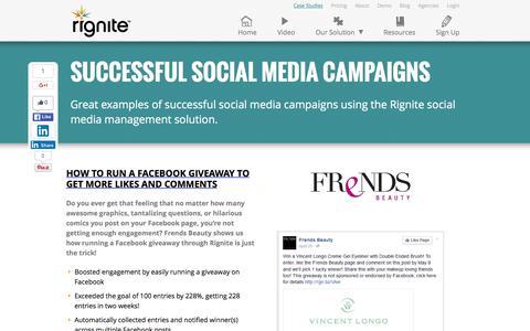 Screenshot of Case Studies Page rignite.com - 7 Successful Social Media Campaigns Run Through Rignite - captured Jan. 19, 2016