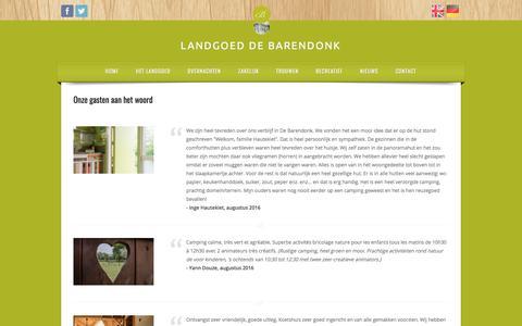 Screenshot of Testimonials Page barendonk.nl - Wat onze gasten zeggen - captured July 14, 2017